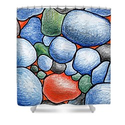 Colorful Rock Abstract Shower Curtain by Nancy Mueller