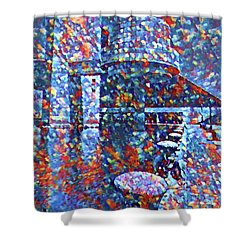 Shower Curtain featuring the painting Colorful Rock And Roll Hall Of Fame Museum by Dan Sproul