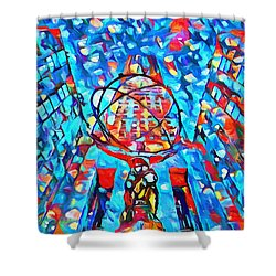 Shower Curtain featuring the painting Colorful Rockefeller Center Atlas by Dan Sproul