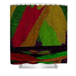 Shower Curtain featuring the drawing Colorful Room by Michelle Audas