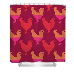 Colorful Roosters- Art By Linda Woods Shower Curtain by Linda Woods