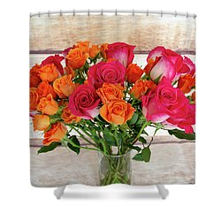 Colorful Rose Bouquet Shower Curtain