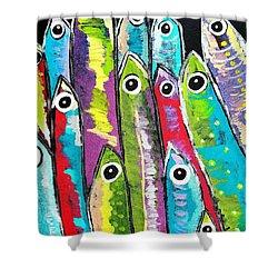 Colorful Sardines Shower Curtain by Scott D Van Osdol