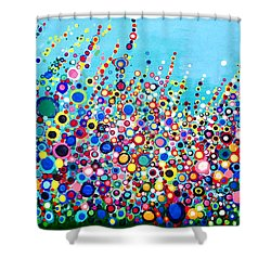 Shower Curtain featuring the painting Colorful Spring Flowers by Maja Sokolowska