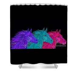 Shower Curtain featuring the drawing Colorful Stallions  by Nick Gustafson