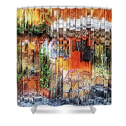 Colorful Street Cafe Shower Curtain