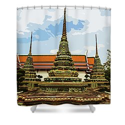 Colorful Stupas At Wat Pho Shower Curtain
