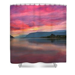 Colorful Sunrise At Columbia River Gorge Shower Curtain by David Gn