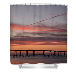Colorful Sunrise Over Navarre Beach Bridge Shower Curtain by Jeff at JSJ Photography