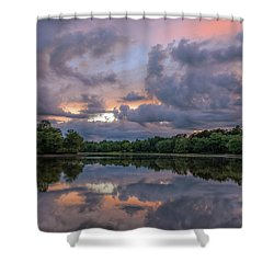 Shower Curtain featuring the photograph Colorful Sunset At The Lake by Lori Coleman