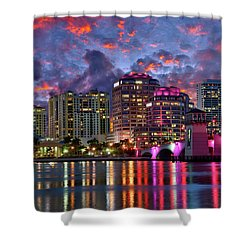 Colorful Sunset Over Downtown West Palm Beach Florida Shower Curtain
