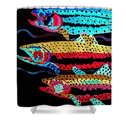 Colorful Swimming Trout Shower Curtain by Scott D Van Osdol