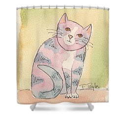 Shower Curtain featuring the painting Colorful Tabby by Terry Taylor