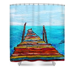 Colorful Tropical Pier Shower Curtain