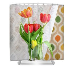 Colorful Tulips And Bulbs In Glass Vase Shower Curtain