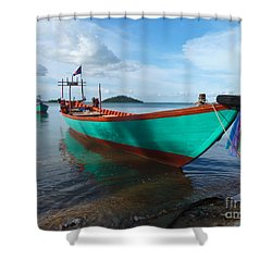 Colorful Turquoise Boat Near The Cambodia Vietnam Border Shower Curtain