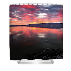 Colorful Utah Lake Sunset Shower Curtain