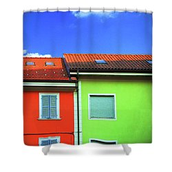 Colorful Walls And A Cloud Shower Curtain by Silvia Ganora