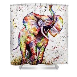 Shower Curtain featuring the painting Colorful Watercolor Elephant by Georgeta Blanaru