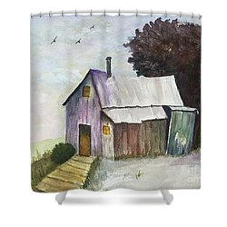 Shower Curtain featuring the painting Colorful Weathered Barn by Lucia Grilletto