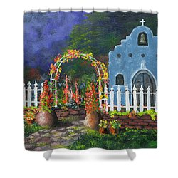 Colorful Welcome Shower Curtain by Jerry McElroy