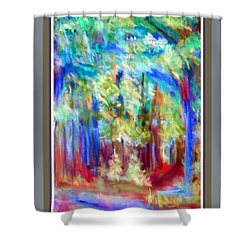 Colorful Woods Abstract Shower Curtain