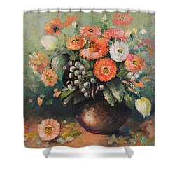 Coloroful Zinnias Bouqet Shower Curtain