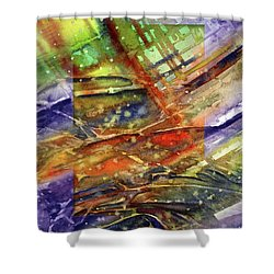 Shower Curtain featuring the painting Colors Interrupting by Allison Ashton