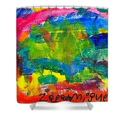 Shower Curtain featuring the painting Colors by Artists With Autism Inc