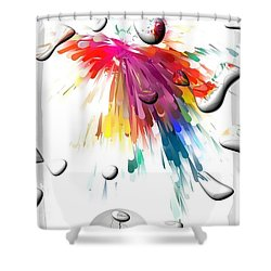 Shower Curtain featuring the digital art Colors Of Explosions By Nico Bielow by Nico Bielow