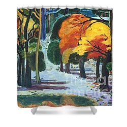 Colors Of Fall Shower Curtain by Meihua Lu