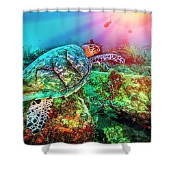 Shower Curtain featuring the photograph Colors Of The Sea In Lights by Debra and Dave Vanderlaan