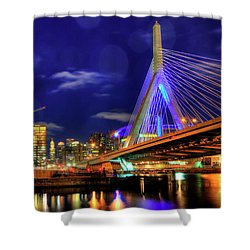 Shower Curtain featuring the photograph Colors Of The Zakim Bridge - Boston, Ma by Joann Vitali