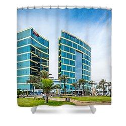 Colour Buildings Lima. Shower Curtain