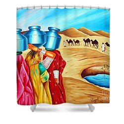 Shower Curtain featuring the painting Colour Of Oasis by Ragunath Venkatraman
