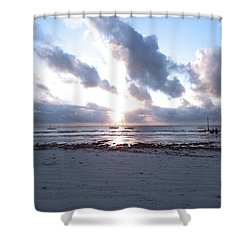 Coloured Sky - Sun Rays And Wooden Dhows Shower Curtain
