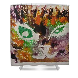 Shower Curtain featuring the drawing Colourful Cat Face by AJ Brown