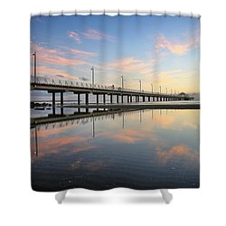 Colourful Cloud Reflections At The Pier Shower Curtain
