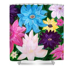 Shower Curtain featuring the painting Colourful Flowers by Sonya Nancy Capling-Bacle