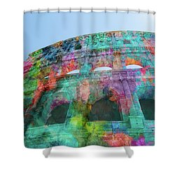 Shower Curtain featuring the mixed media Colourful Grungy Colosseum In Rome by Clare Bambers