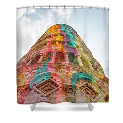 Shower Curtain featuring the mixed media Colourful Leaning Tower Of Pisa by Clare Bambers