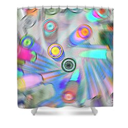 Shower Curtain featuring the digital art Colourful Pens by Wendy Wilton