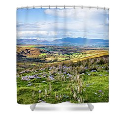 Colourful Undulating Irish Landscape In Kerry  Shower Curtain by Semmick Photo