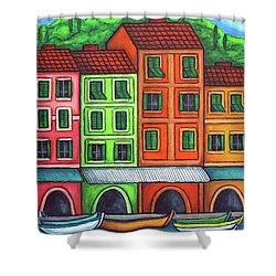 Colours Of Liguria Shower Curtain by Lisa  Lorenz