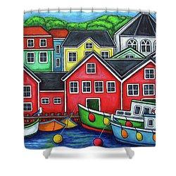 Colours Of Lunenburg Shower Curtain by Lisa  Lorenz