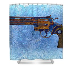 Colt Python 357 Mag On Blue Background. Shower Curtain