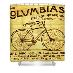 Shower Curtain featuring the mixed media Columbia Bicycle Vintage Poster On Wood by Dan Sproul