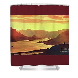 Shower Curtain featuring the painting Columbia Gorge Scenery by Ryan Fox