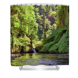 Columbia Gorge Waterfall In Summer Shower Curtain