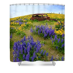 Columbia Hills Wildflowers Shower Curtain by Lynn Hopwood